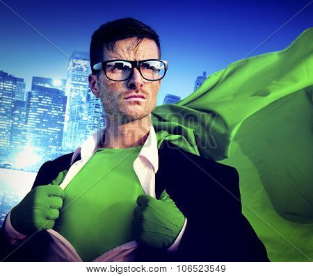 Strong Superhero Professional Leadership Business Victory Concept