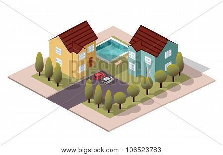 Vector Isometric House Neighbor