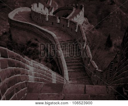 Great Wall China Meandrs Across Rough Terrain Concept