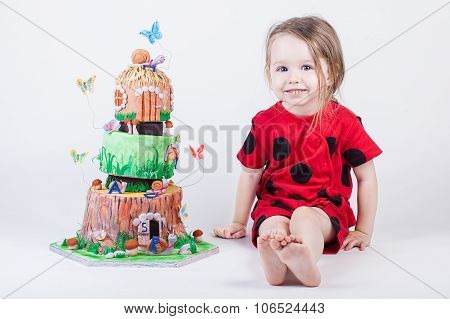 Fancy and pretty birthday cake near little child