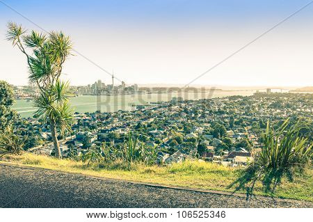 Amazing View Of Auckland Skyline And Territory From Mount Victoria In Devonport Area - High Angle