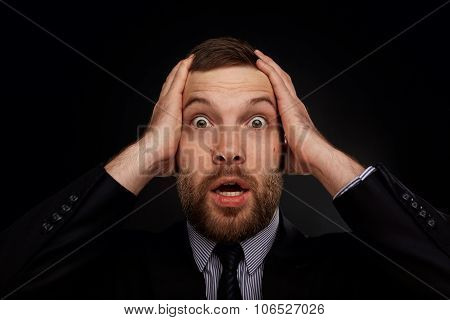 Closeup Portrait Of Handsome Bearded Businessman Looking Shocked, Surprised In Disbelief, With Hands