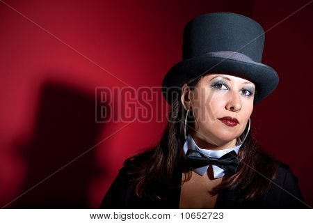 Beautiful Women In Top Hat And Bow-tie