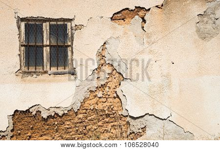 Damaged Wall Background With A Closed Window