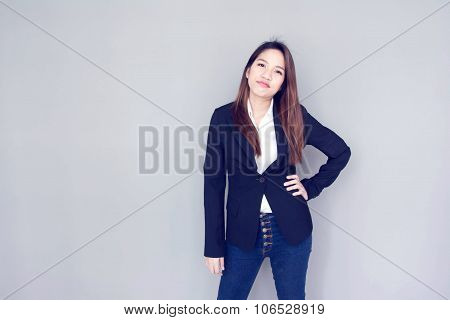 Asian Girl Glade Smile Action With Black Suite