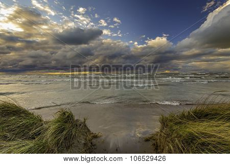 Storm Clouds Over A Lake Huron Beach - Ontario, Canada