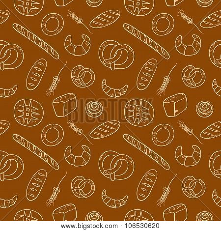 Hand Drawn  Doodle Bakery Seamless Background