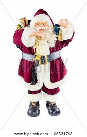 Standing Model Of Santa Claus Isolated On White Background