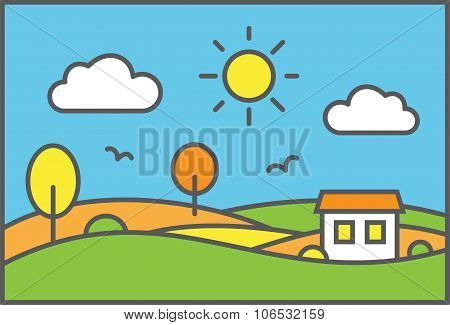 Rural landscape with meadow field and small house