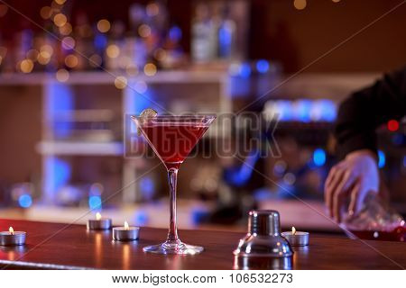 Glass With Red Martini