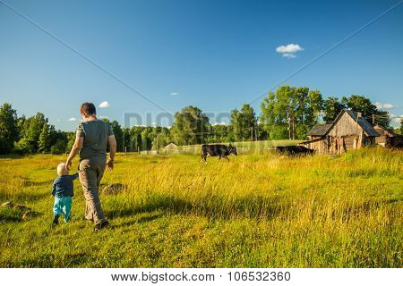 Two Boys Watching Cows In A Meadow.