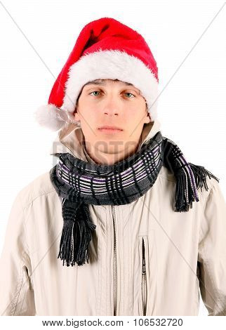 Sad Young Man In Santa Hat