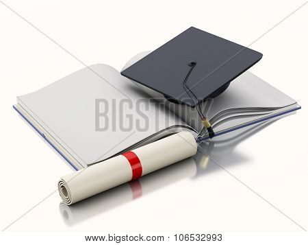 3D Open Book With Graduation Cap And Diploma