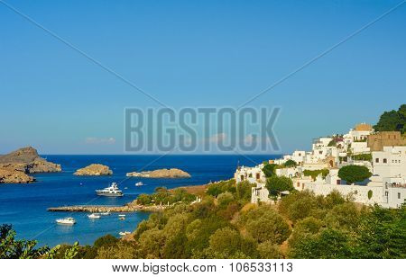 Port city of Lindos on the island of Rhodes