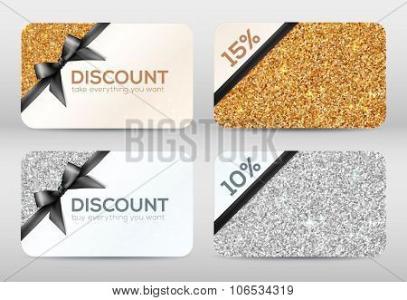 Set of golden and silver glitter discount cards templates with black ribbons