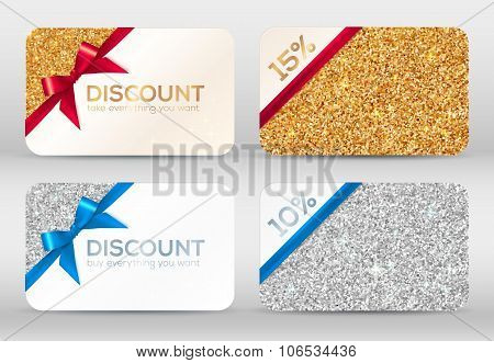 Set of golden and silver glitter discount cards templates with ribbons