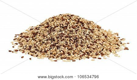 Raw wholegrain rice isolated