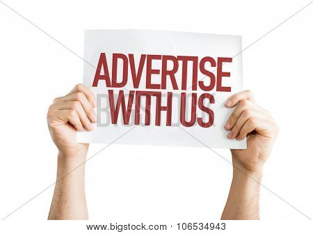 Advertise With Us placard isolated on white