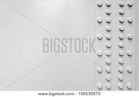 White Steel Wall With Bolts, Metal Parts Joint