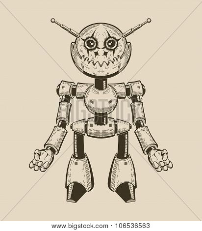 Image of a cartoon fun metal robot with antennas. Vector illustration.