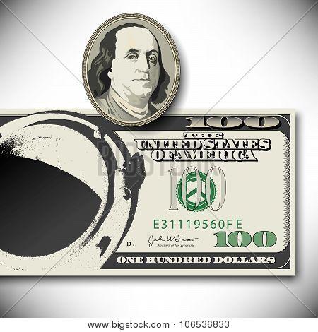 Surreal 100 dollar bill elements