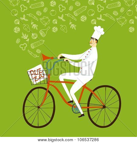 Cartoon Chief Baker With Baguette On Bicycle