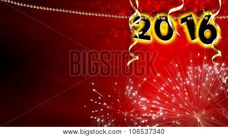 New Year 2016 Pearls Hanging On Red Background Strip Horizontal