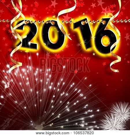 New Year 2016 Pearls Hanging On Red Background Strip Square