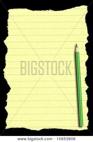 Papier und Bleistift auf tiefschwarze hintergrund isoliert