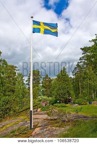 Flag in Swedish pastoral landscape