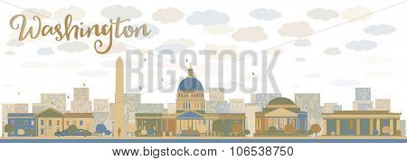 Washington DC city skyline. Illustration with cloud and sky. Business travel and tourism concept with modern buildings. Image for presentation, banner, placard and web site.