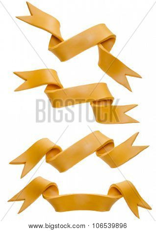 Yellow ribbons set isolated on a white background
