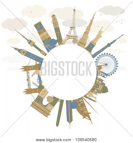 Travel concept around the world. Famous international landmarks. Illustration with copy space. Business and tourism concept for banner, placard, presentation or web site