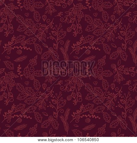 Fall, Autumn or Thanksgiving Vector Flower Pattern - Seamless and Tileable