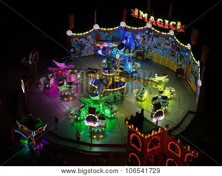 Odessa, Ukraine - July 12, 2015: Colorful Carousel With Lights At Night August 12, 2015 In Odessa, U