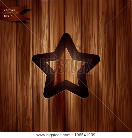 Star favorite sign web icon on wooden background