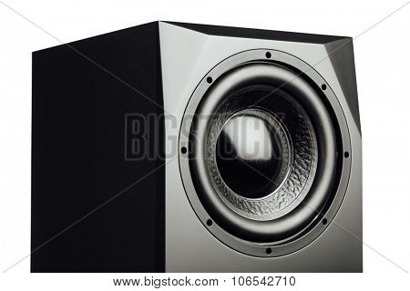 professional studio subwoofer speaker isolated on white
