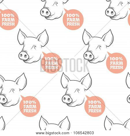 Seamless Pattern with pig