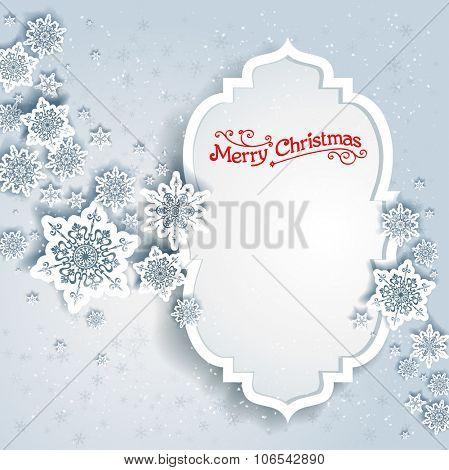 Snowy winter frame. Holiday design for card, banner, invitation, leaflet and so on.