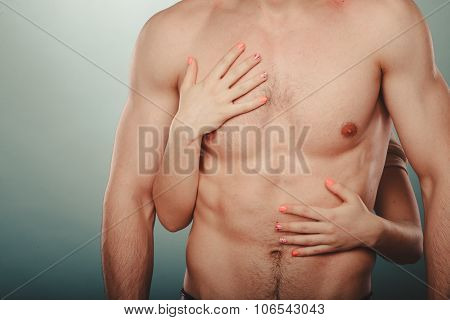 Sexy Couple. Woman Hands Embracing Naked Man.
