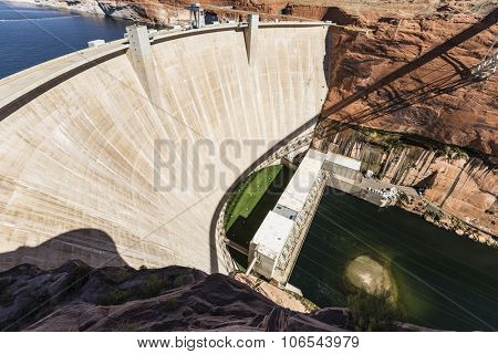 Glen Canyon Dam on the Colorado river in the southwestern United States.