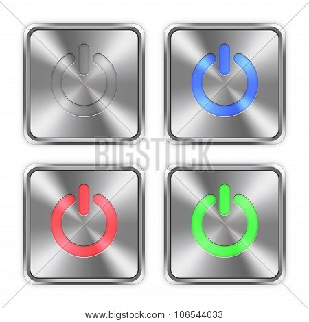 Color Power Off Steel Buttons