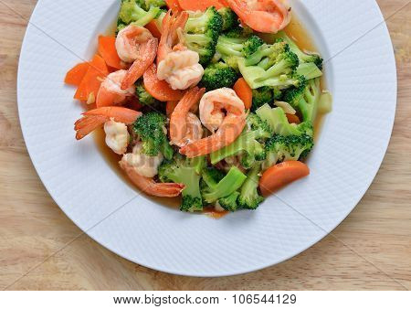 Thai Healthy Food Stir-fried Broccoli And Shrimp