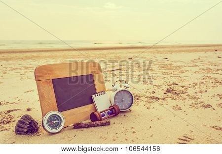 Journey Concept Image Of Chalkboard And Stationery Items For Creative Idea.