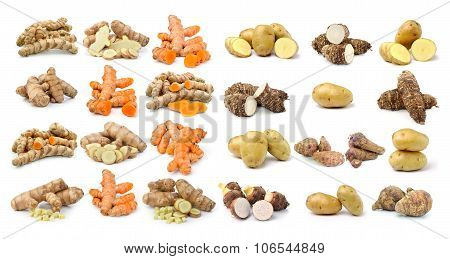 Turmeric Taro Root And Potato On White Background