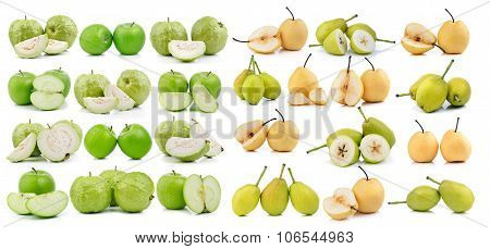 Guava  Apple And Pear On White Background