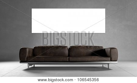 Empty white panorama canvas on concrete wall with sofa (3D Rendering)