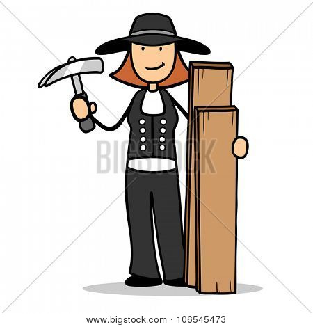Woman as carpenter with wood and hammer