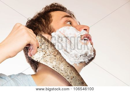 Scared Man Shaving Having Fun With Machete.