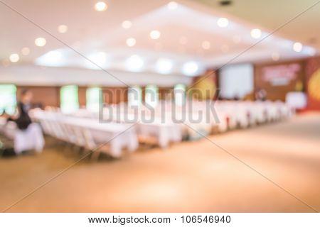 Blurred Image Of Large Seminar Room .